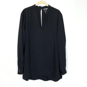 Lord & Taylor Black V-Neck Long Sleeve Blouse